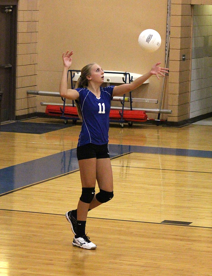 Camp Verde freshman Maya Hedges serves the ball earlier this season. Hedges leads the region in blocks. (VVN/James Kelley)