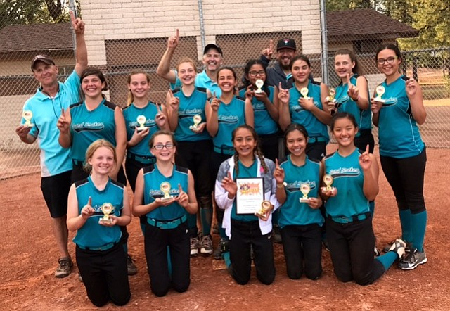 The Arizona Sand Snakes of Prescott won the National Softball Association's (NSA) End of Summer Madness tournament Sept. 9 and 10 in Payson. Kneeling, from left, Natalie Diedrick, Kendall Murray, Yasmine Bernal, Aleah Murillo and Ruby Tessman. Standing, from left, Mike Tessman, Tessa Martinez, Laycee Wasil, Peyton Weber, Bill Weber, Harlee McDowell, Mercedes Jackson, Pepe Bernal, Saree James, Madison Vick and Mia Luzania.