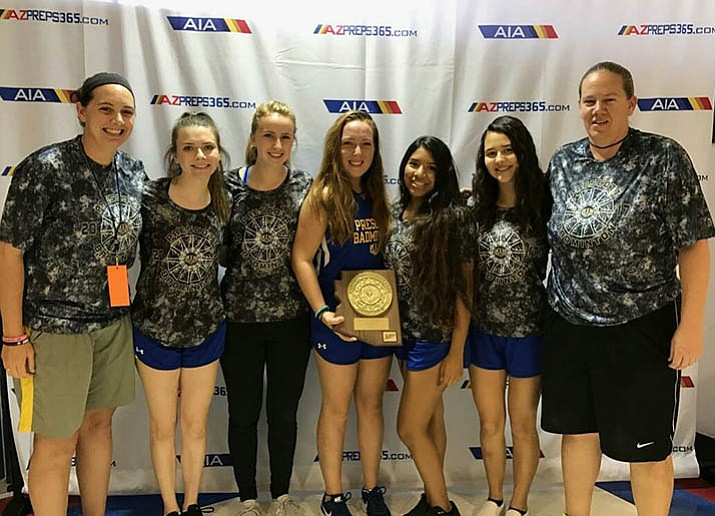 Prescott's badminton team traveled to the AIA Division 2 Individual State Championships on Friday and Saturday at Independence High School in Glendale. The 2017 Badgers, from left, assistant coach Abby Sabato, Sara D'Alessandro, Carolyn Hulse, Abby Nelson (holding Northwest Section Champions plaque), Zoey Frazier, Mackenzie Schultz and coach Bobbi Yoder. (Courtesy/Bobbi Yoder)