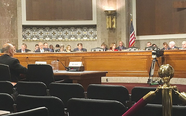 The chair of the White House Cybersecurity Coordinator Rob Joyce sits empty at the witness table. Still, members of the Senate Armed Services Committee directed question to the empty seat of Joyce, who invoked executive privilege for his refusal to appear.