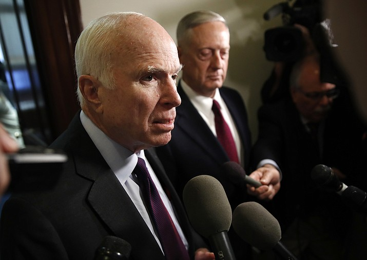 Sen. John McCain, R-Ariz., left, and Defense Secretary James Mattis, speak to members of the media after their meeting Friday, Oct. 20, 2017, on Capitol Hill in Washington. (Jacquelyn Martin/AP)