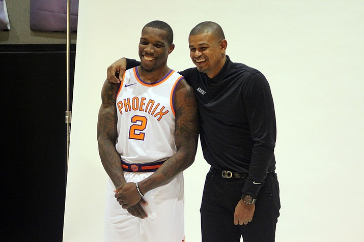 Suns guard Eric Bledsoe, left, was sent home Monday, a day after the Suns fired coach Earl Watson.