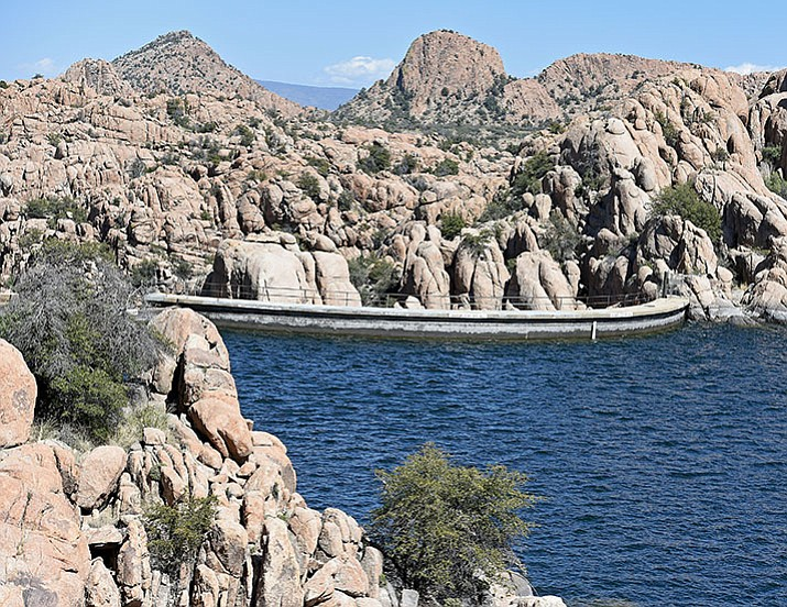 Watson lake is currently near capacity on March 22, 2016 but the City of Prescott plans to begin withdrawing water soon for ground water recharge in April. (The Daily Courier)