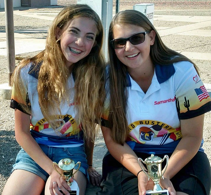 Victoria Moreno, left, and Samantha Witty earned a third and second place respectively at the American Trap Commissioners Cup competition this past April. (Courtesy/Prescott Bird Busters)