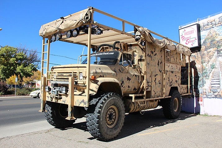One Stop Survival's owner Jim Delozier builds and sells survival trucks. This one constantly sits outside his business's storefront along Miller Valley Road in Prescott. (Max Efrein/Courier)