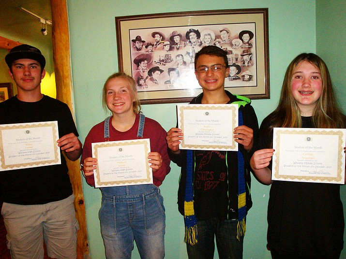 From left: October Students of the Month for Williams High School and Middle School Alden Fensel - 9th grade, Madison Jensen - 11th grade, Andre Christopher - 7th grade and Corrina Jorgensen - 7th grade.