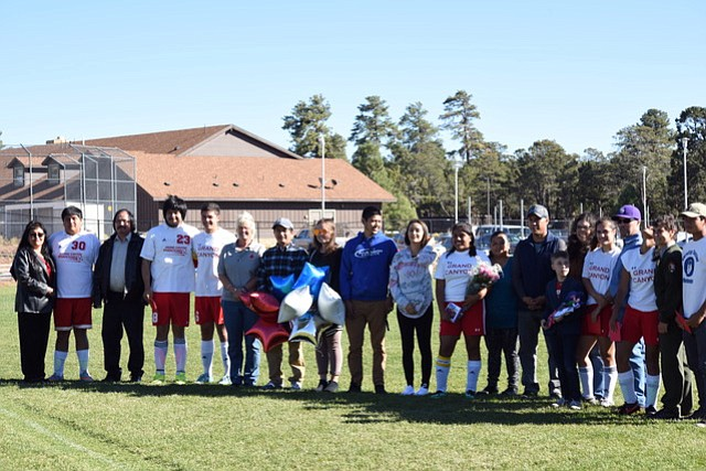 Senior soccer players and their families were recognized Oct. 13.
