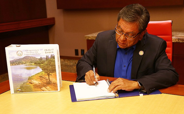 Navajo Nation President Russell Begaye signs the 2018 FY Budget Sept. 30 for the Navajo Nation. Submitted photo