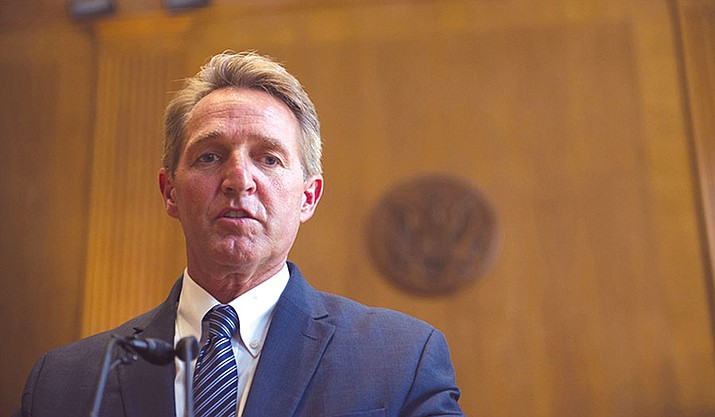 Sen. Jeff Flake, R-Arizona, said the Republican Party has lost its way and turned to nativism and protectionism instead of the Goldwater values of limited government and individual responsibility.