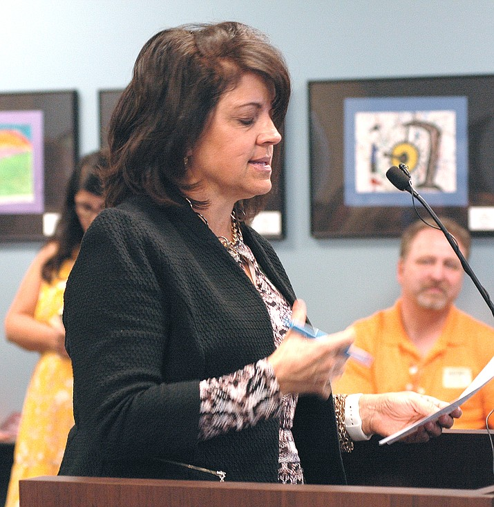 Mary Jo Mulligan, principal of Thunderbolt Middle School in Lake Havasu City gets tearful Monday in questioning the State Board of Education about the appropriateness of her school getting an F in the newly revamped grading system.