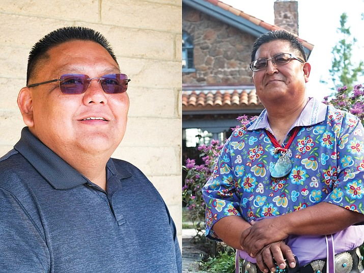 Candidates running for vice chairman of the Hopi Tribe attended a debate at Hopi High School Oct. 11. from left: Lamar Keevama and Clark Tenakhongva.