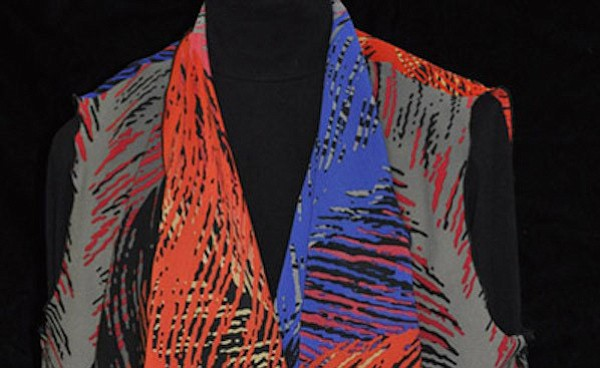 "This Swirl Vest by Barb Wills is part of the ""Adorn Yourself"" show in the Mezzanine Gallery at 'Tis Art Center and Gallery. It features one-of-a-kind wearables, silk scarves and jewelry by Barb Wills, Joan Knight and Laurie Fagen, through Nov. 14. (Courtesy)"