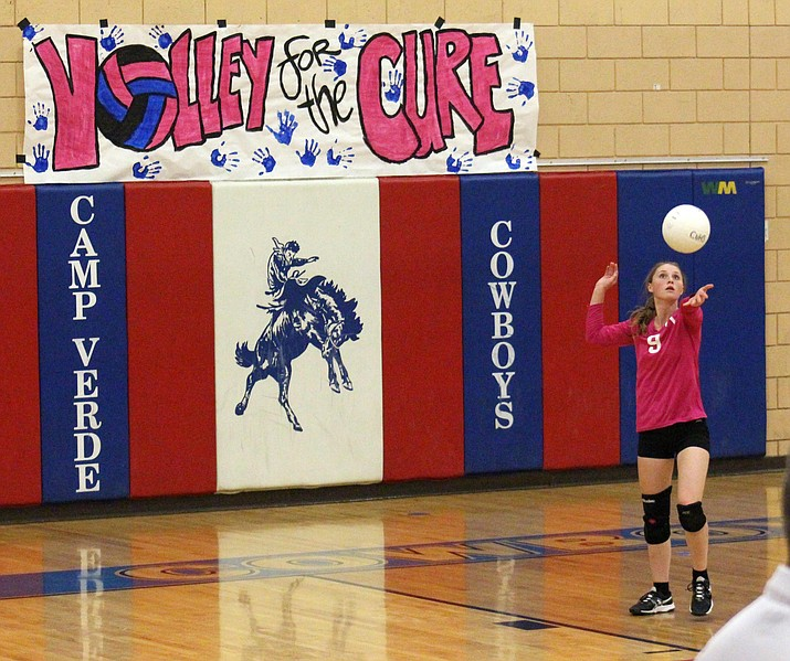 Camp Verde senior Allysa Matthias serves on senior night on Tuesday. (VVN/James Kelley)
