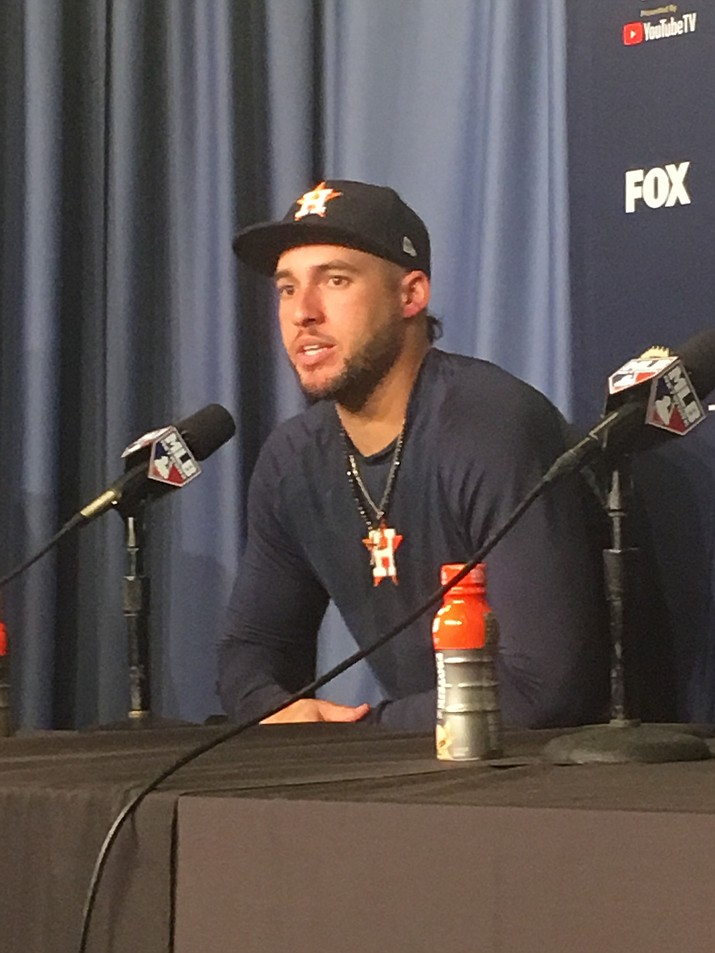 The Astros' George Springer talks about his 11th inning home run after Game 2 of the World Series Wednesday night. Houston beat the Dodger, 7-6, and the series moves to Houston for Game 3 Friday.