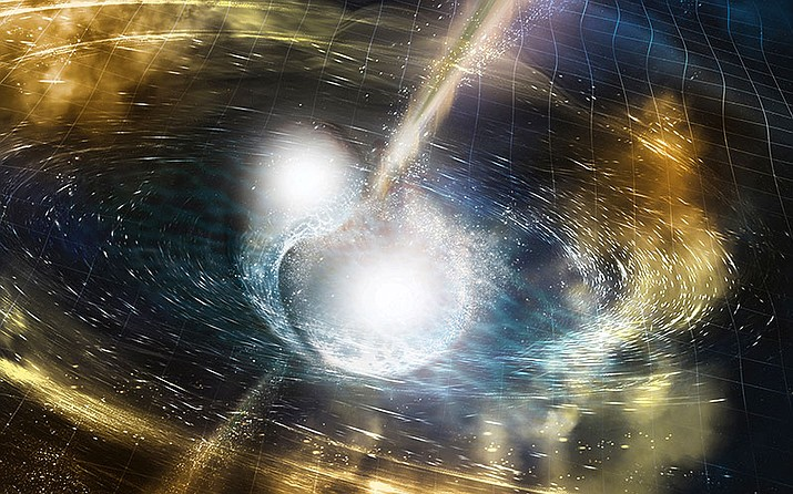 An artist's rendering of a kilonova, the collision between two super-dense neutronstars that throws off huge amounts of gold and platinum energy – and gravitational waves.