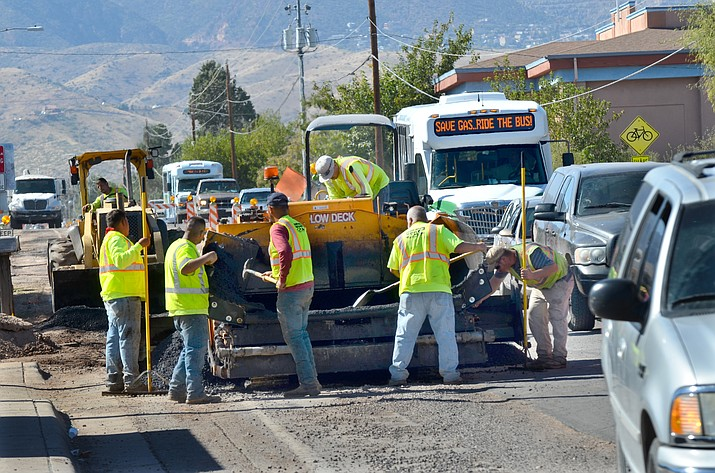 Crews work on Mingus Avenue where a water line is going in. Sidewalks, bike lanes, and a center turn lane will be put in during this phase of the project. (VVN/Vyto Starinskas)