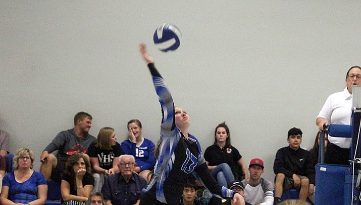 Kingman Academy's Aspen Jackson played her final volleyball game as a Lady Tiger in a 3-2 loss to Benson.