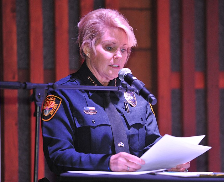Prescott Police Chief Debora Black speaks during the Civility Rally at the Holiday Courtyard on Whiskey Row in Prescott Thursday night. (Les Stukenberg/Courier)