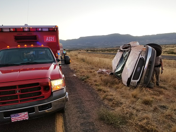 Two people were injured Sunday after a single vehicle rollover on SR 89A, about a mile north of the Cornville Road and Mingus Avenue extension intersection. (Photos courtesy of Verde Valley Fire District)
