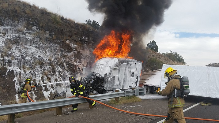 Around 12:06 p.m., Copper Canyon Fire and Medical Authority was dispatched to I-17 at milepost 297.5 southbound, just south of the Sedona exit, for a report of a tractor trailer that had jack-knifed and rolled onto its side which blocked both lanes of traffic.  As response crews approached the scene, it was evident that the cab of the truck was on fire, according to a news release from CCFMA. The driver was able to exit the vehicle without injury. (Courtesy of CCFMA)