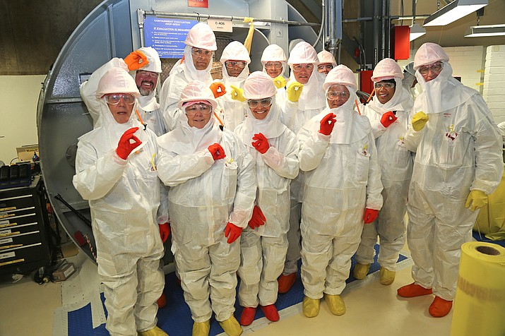 Yavapai County District Supervisor Jack Smith (third from the right in the second row) stands with a number of other visitors who got to tour Arizona's Palo Verde Nuclear Generating Station on Monday, Oct. 23. (APS/Courtesy)