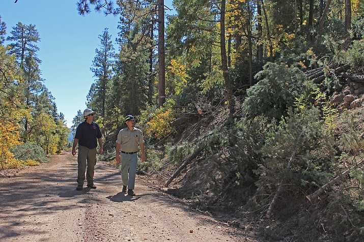 Mike Uebel and Josh Giles observe the status of forest restoration efforts on Bill Williams Mountain in early October.