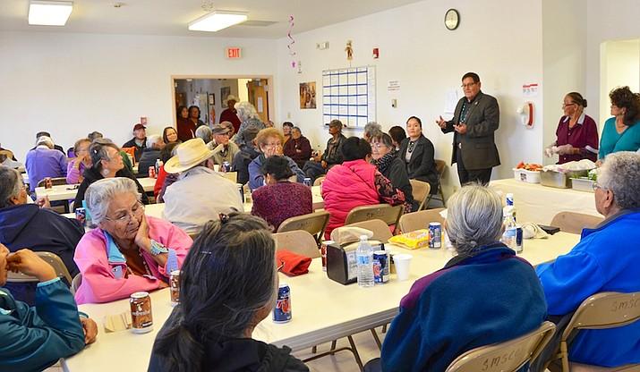 Navajo Nation Speaker LoRenzo Bates addresses the crowd.