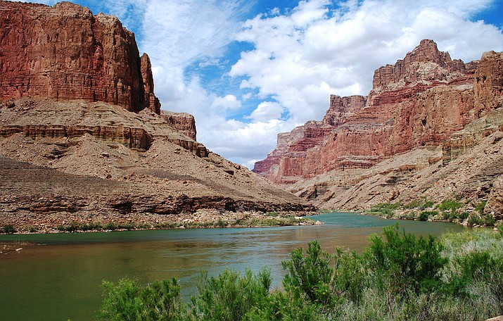 This undated photo provided by Confluence Partners, LLC, shows a view upstream on the Colorado River in the Grand Canyon. (Confluence Partners, LLC via AP)