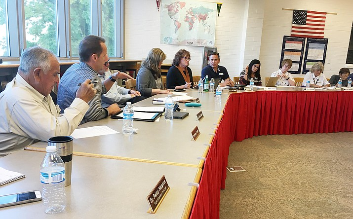 Governing boards from the Mingus Union High School District and Cottonwood-Oak Creek School District met Wednesday regarding the formation of a fact-finding committee to help the two districts decide whether a merger should take place. (Photo by Bill Helm)