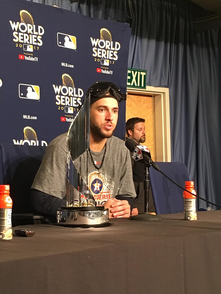 George Springer talks about his World Series championship and MVP award. Springer homered in the last four games and hit five total to tie the World Series record.