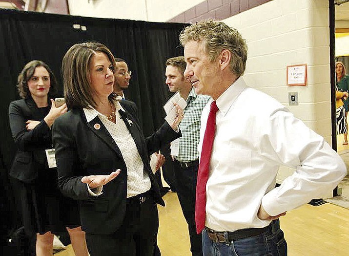 Kelli Ward tweeted this photo Wednesday of a conversation with Sen. Rand Paul, saying she was honored to have the support of the influential Kentucky Republican.