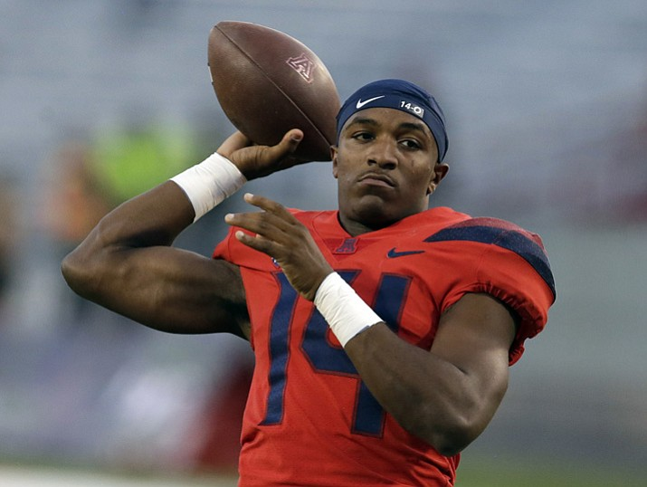 Arizona quarterback Khalil Tate warms up before a game against Washington State on Saturday, Oct. 28, 2017, in Tucson. (Rick Scuteri/AP, File)