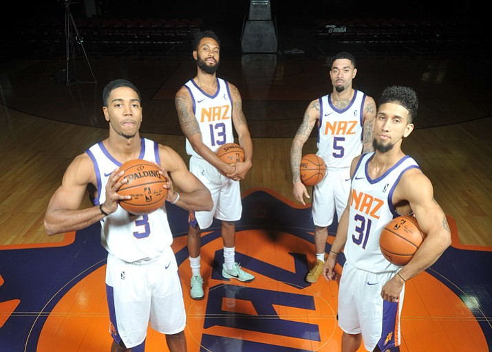 Northern Arizona Suns players Shaq Harrison (3), Xavier Silas (13), Josh Gray (5) and Askia Booker (31) are all returning in year two for the Phoenix Suns' NBA Gatorade League affiliate in Prescott Valley. (Les Stukenberg/Courier)