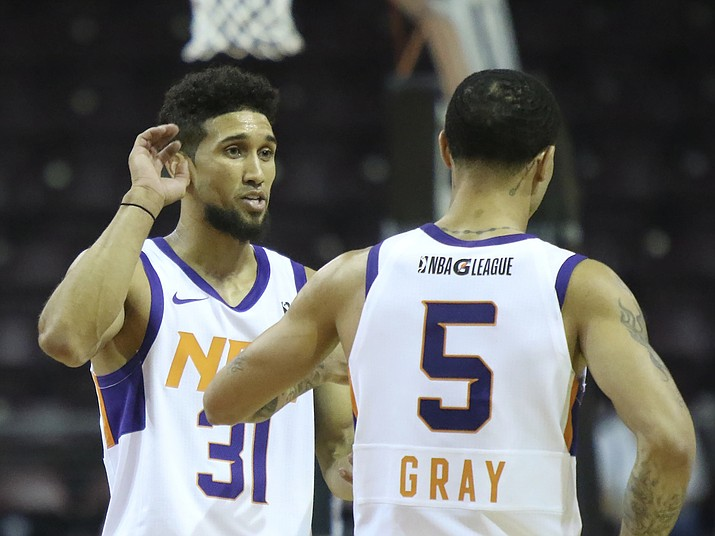 Northern Arizona guards Askia Booker (31) and Josh Gray (5) talk on the court while the Suns hosted the Agua Caliente Clippers on Saturday, Nov. 4, 2017, in Prescott Valley. Booker and Gray each scored 28 points in a 126-118 loss to the Clippers. (Matt Hinshaw/NAZ Suns)