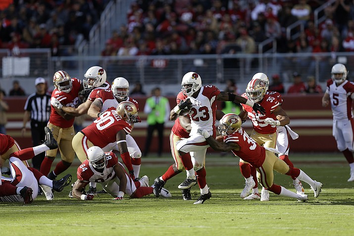 Arizona Cardinals running back Adrian Peterson (23) runs against the San Francisco 49ers during the first half of an NFL football game in Santa Clara, Calif., Sunday, Nov. 5. (Ben Margot/AP)