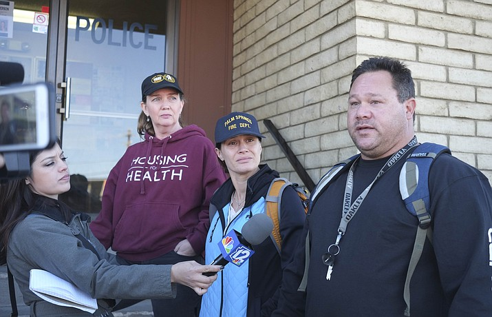 Deidre Gorospe briefs reporters outside the Williams Police Department as a group of volunteers begins search efforts for Cathryn Gorospe. Cathryn's remains were located near Mayer on Oct. 13. (Loretta Yerian/WGCN, File)