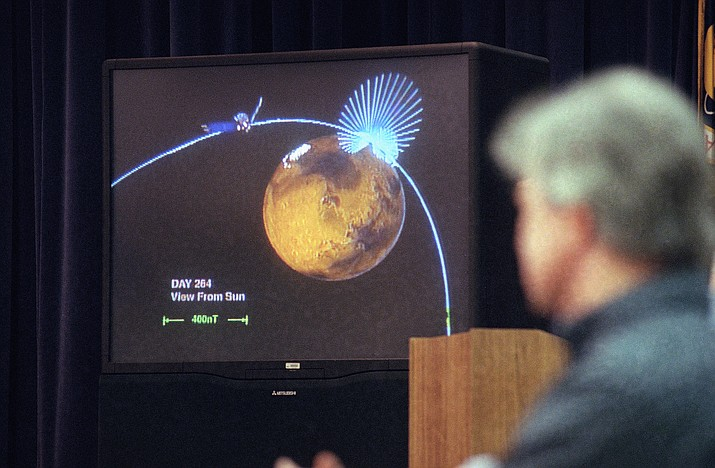 A projected computer image depicts one of the anomalous magnetic fields discovered emanating from the crust of Mars, which has only a reminant of a once global magnetic field, during a briefing of Mars Global Surveyor mission at NASA's Jet Propulsion Laboratory in Pasadena, Calif., Wednesday, Oct. 2, 1997. The orbiter is on a mission to topographically map the red planet. (Kevork Djansezian/AP, File)