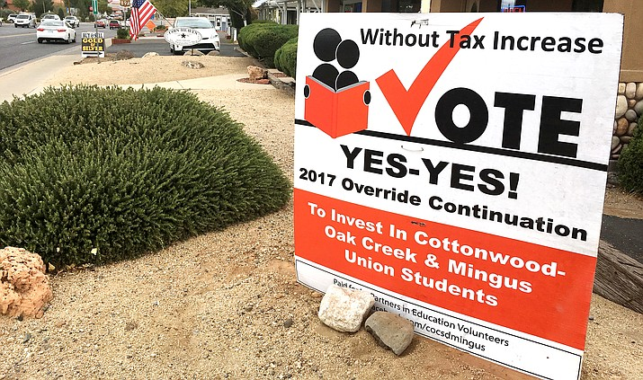 Unofficial vote tallies Tuesday night show strong voter support for both the Cottonwood-Oak Creek and Mingus Union overrides. VVN/Bill Helm