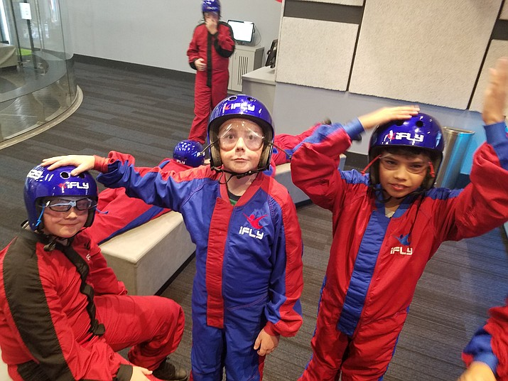 Kids from Mingus Springs Charter School's sixth, seventh and eighth grades participated in iFly to learn about velocity. (Jennifer Hachmann/courtesy)