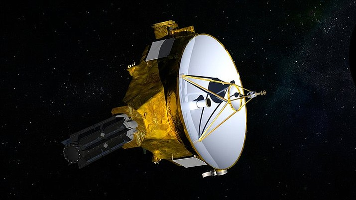 This illustration provided by NASA shows the New Horizons spacecraft. The probe whipped past Pluto in 2015 and is headed to 2014 MU69 for an attempted 2019 flyby of the tiny, icy world on the edge of the solar system. (NASA/JHUAPL/SwRI via AP)