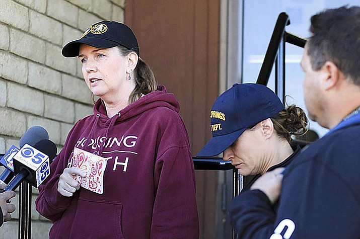 Deidre Gorospe briefs reporters outside the Williams Police Department when a group of volunteers began search efforts for Cathryn Gorospe. Cathryn's remains were located near Mayer on Oct. 13.