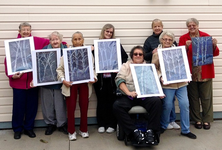 Artists from St. Agnes apartments display their winter aspen pastels.  Artists include Caroline McCaffery, Dale Ellis, Janie Rhodes, Victoria Cahill, Stephanie Chavez, Susan Antonucci, Stefanie Chavez and teacher Bonnie Dent. Dent has shared her art expertise with adults and youth as an outreach for Williams Alliance for the Arts.