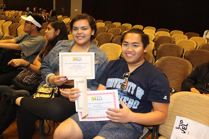 Hopi High advanced radio student Sean Bolus and Hopi High video student Hailey Kardell show off their state awards. Stan Bindell/NHO