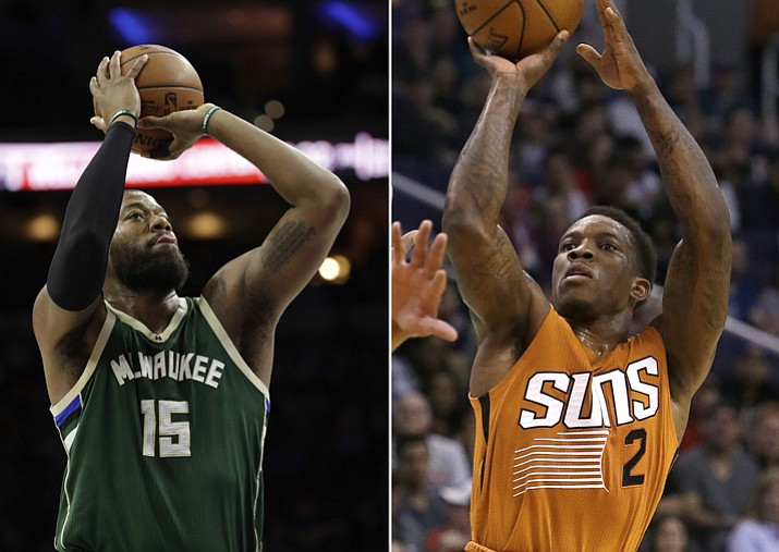 FILE PHOTOS: At left, in a March 6, 2017, Milwaukee Bucks' Greg Monroe (15) shoots against the Philadelphia 76ers, in Philadelphia. At right, in a March 12, 2017, Phoenix Suns guard Eric Bledsoe (2) shoots over a Portland Trail Blazers defender in Phoenix. (AP Photo/File)