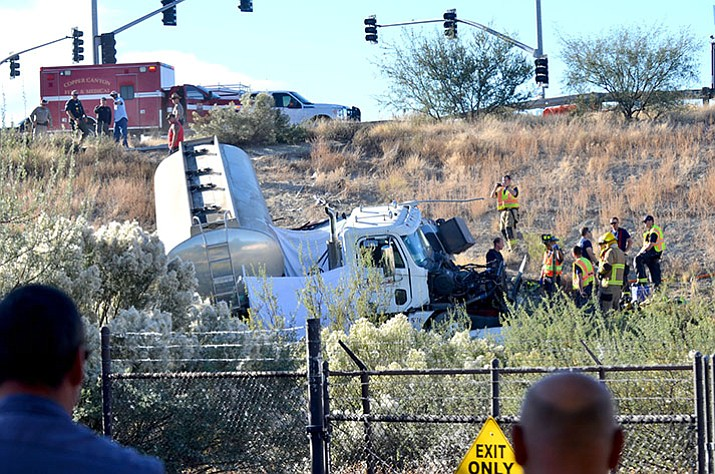 According to the Arizona Department of Public Safety, the fatal collision occurred Wednesday when the diesel truck was taking the exit at milepost 287. (Vyto Starinskas/Verde Valley News)