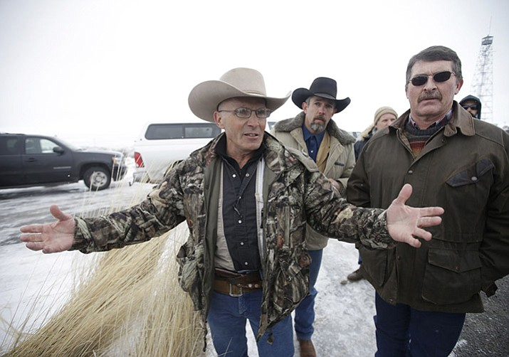 LaVoy Finicum, a rancher from Mohave County, speaks to the media after members of an armed group along with several other organizations arrive at the at the Malheur National Wildlife Refuge near Burns, Oregon. Finicum was shot to death during a traffic stop in January 2016, and now the Mohave County Supervisors are naming a road in the rancher's honor.