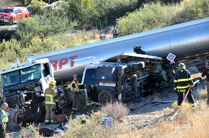 According to the Arizona Department of Public Safety, the fatal collision occurred Wednesday afternoon when the diesel truck was taking the exit at milepost 287. The driver attempted to slow but told DPS that the brakes were not responding. (VVN/Vyto Starinskas)