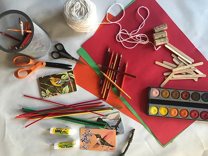 This file photo provided by Katie Workman shows samples of Thanksgiving craft table supplies. (Katie Workman via AP)