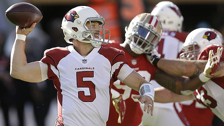 Arizona Cardinals quarterback Drew Stanton (5) passes against the San Francisco 49ers during the first half Sunday, Nov. 5, 2017, in Santa Clara, Calif. New research shows that of the 459 reported concussions during the past two NFL seasons, 44 percent were on passing plays.