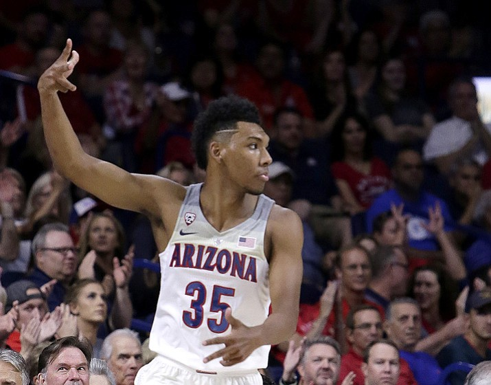 Arizona guard Allonzo Trier (35) in the first half during an NCAA college basketball game against Northern Arizona, Friday, Nov. 10, 2017, in Tucson. (Rick Scuteri/AP)